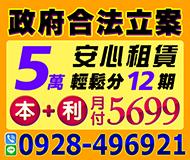安心借貸 合法借貸 | 5萬輕鬆分12期 本金+利息 月付5699起【速交貸】